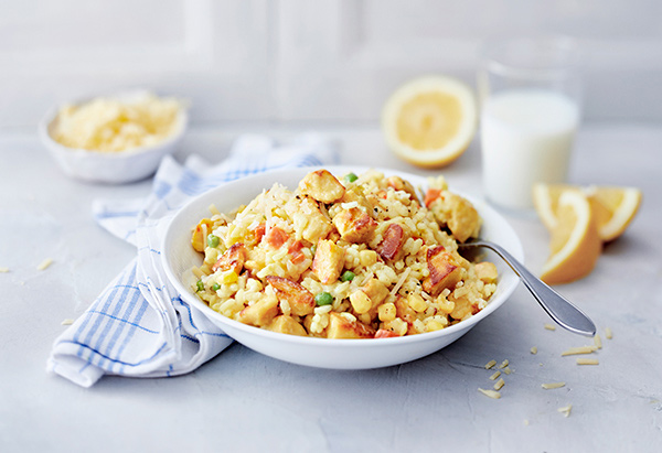 MiFU® risotto. Mifu can be used in recipes that call for meat or chicken; it doesn't require pre-preparation or pre-cooking
