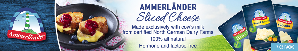 Ammerlander - Sliced Cheese - Made exclusively with cow's milk from certified North German Dairy Farms - 100 percent all natural - Hormone and lactose-free