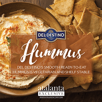 Atalanta - Del Destino - Hummus - Del Destino's Smooth Ready to eat hummus is vegetarian and shelf stable. It is made with high quality all natural ingredients with no preservatives or trans fats