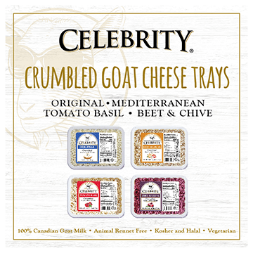 Celebrity - Crumbled Goat Cheese Trays - Original - Mediterranean - Tomato Basil - Beet and Chives