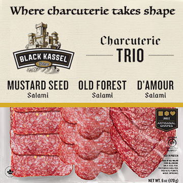 Black Kassel - Charcuterie trio - Mustard Seed Salami - Old Forest Salami - D'Amour Salami - Where Charcuterie takes shape