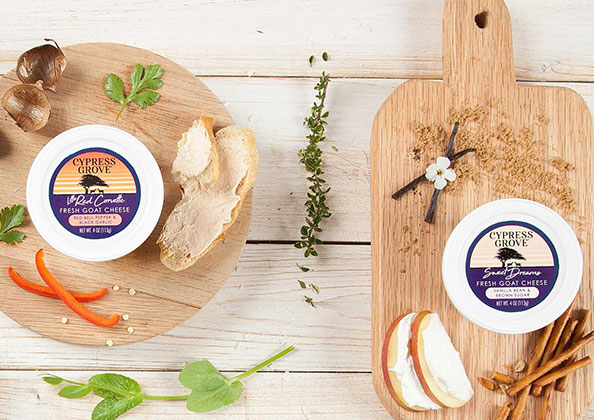 Cypress Grove's new Fresh Goat Cheese Cups feature a complementary blend of cream and acidity in 4 oz resealable cups