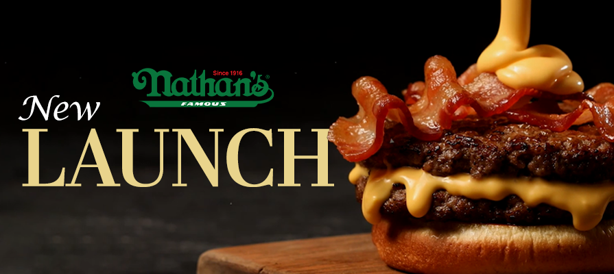 Nathan's Famous Launches New Bacon Cheddar Cheesy Burger in Celebration of National Cheeseburger Day; James Walker Discusses