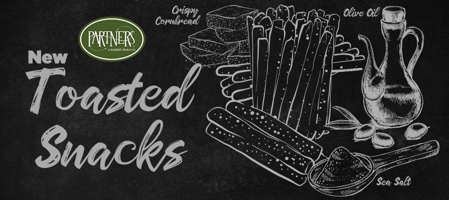 PARTNERS® Introduces Kitchen Baked Naturals® Olive Oil & Sea Salt Toasted Grissini Breadsticks and Crispy Cornbread Toasted Snacks