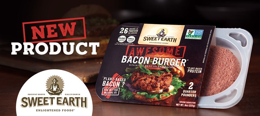 Sweet Earth Foods Launches First-Of-Its-Kind Plant-Based Awesome Bacon Burger