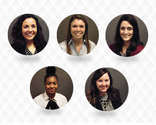 2016-2017 Emerging Leaders (from left to right): Audrey Sebastian (University of Minnesota),  Katie Atkins (University of Minnesota), Rachel Anderson (University of Minnesota), Peri Warren (University of Minnesota), and Erica Timmons (Purdue University)