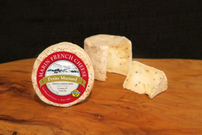 Petite Mustard, a triple-cream brie with bold, nutty aromatic characteristics of black and brown mustard seeds, is the hottest new addition to Marin French Cheese's Petite Collection