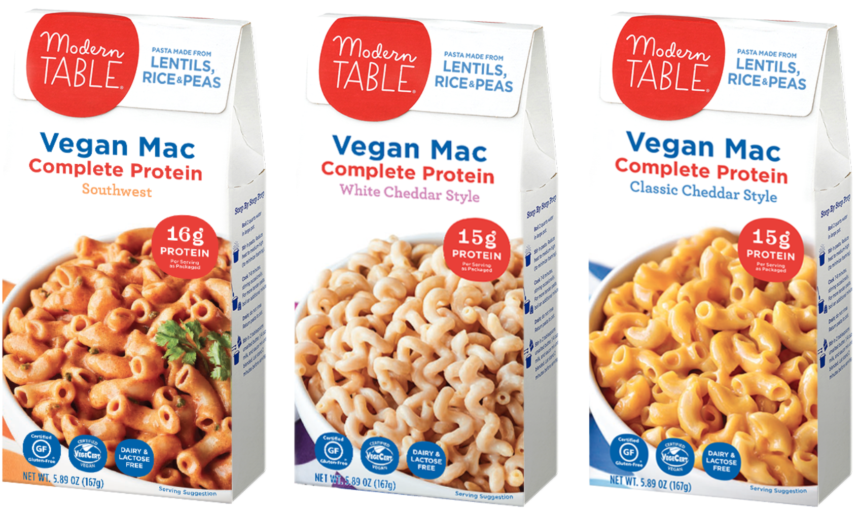 Modern Table's Vegan Mac comes in three flavors—Southwest, Classic Cheddar Style, and White Cheddar Style
