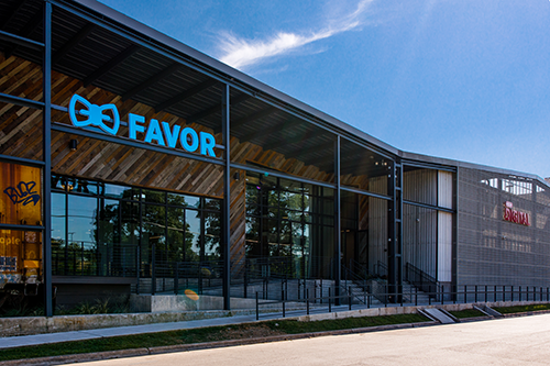 This building serves as the new headquarters for Favor Delivery and spans 81,000-square-feet