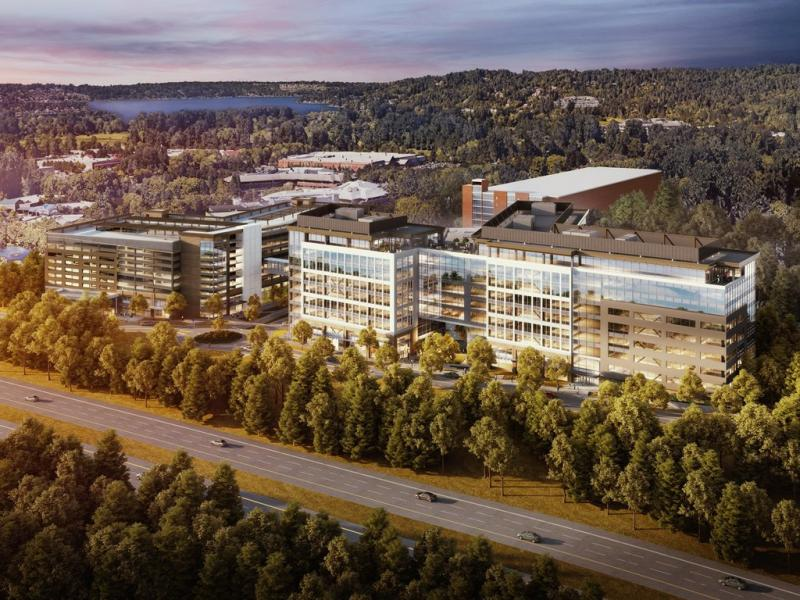 The Issaquah corporate campus expansion will include a nine-story, 620,000-square-foot office building and parking garage (Image source: MG2)