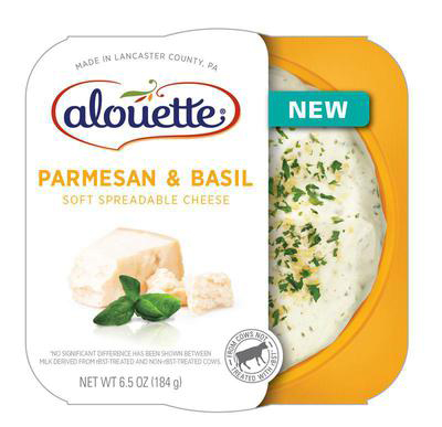 Alouette Parmesan & Basil has a complex, well-balanced flavor, made for spreading on crackers or topping off pasta