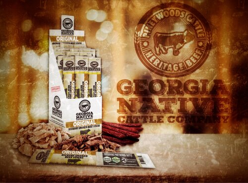 The skillfully crafted Hickory Smoked Beef Sticks in Original and Jalapeño flavors are produced using only high-welfare beef from Georgia Native Cattle Company's herd of Pineywoods cattle and exemplify true supply chain sustainability and ultimate farm-to-fork traceability