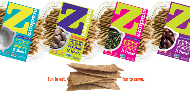 Z Crackers' bright and colorful packaging stands out on retail shelves