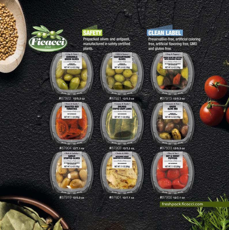 Roughly 30 different Ficacci Olive Company options are on the market, with 20 of those being different recipes of olives from black, green, mixed, pitted, whole, and stuffed varieties