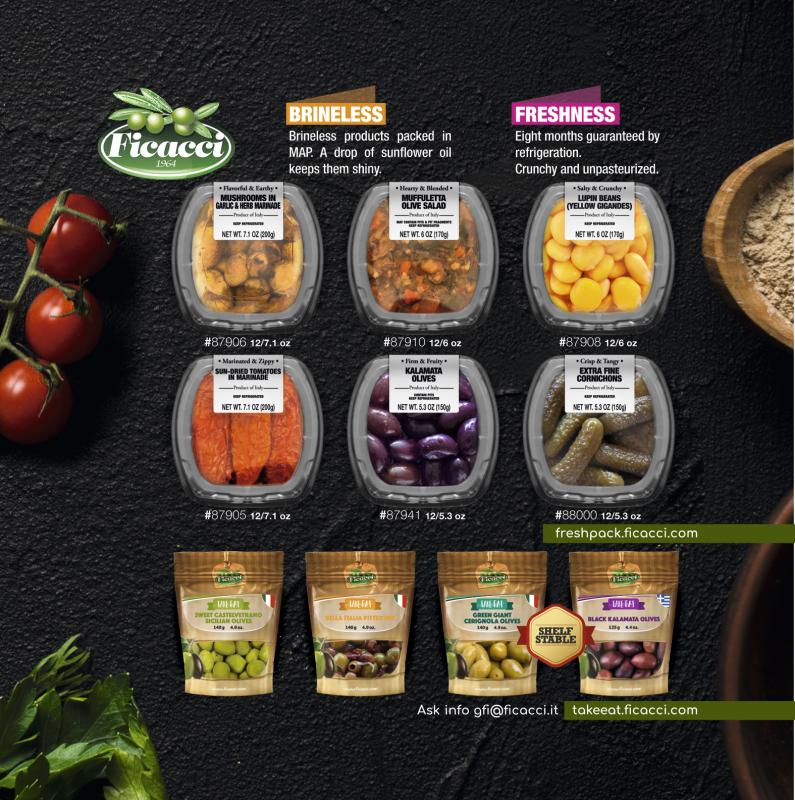 Ficacci Olive Company's innovative line is 100 percent brineless, meaning that the olives are not soaked in water and salt, contributing to the brand's clean label without any preservatives