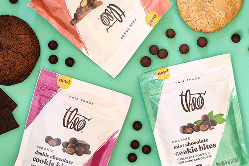 Theo Chocolate is rolling out new Cookie Bites in classic flavors such as Double Chocolate, Snickerdoodle, and Mint chocolate