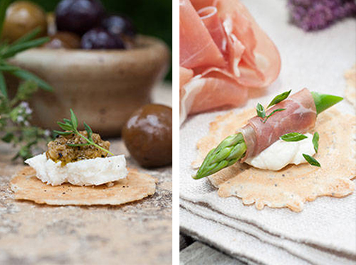 34° Degree Crisp Fresh Recipes (left) Mozzarella with Green Olive (right) Prosciutto & Aspargus with Crème Fraîche