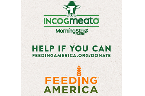 Incogmeato™ by MorningStar Farms® is donating $1 million dollars' worth of plant-based protein products to Feeding America