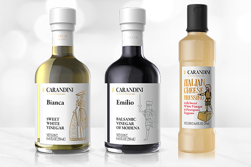 Carandini revealed that its Emilio Silver Balsamic Vinegar of Modena, Bianca Sweet White Vinegar, and Italian Cheese Dressing will now be available at Whole Foods Markets nationwide