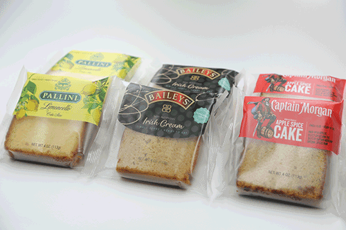 Great Spirits Baking Company partnered with Captain Morgan® Original Spiced Rum, Baileys™ Original Irish Cream, Guinness®, and Pallini™ Limoncello to produce mouthwatering, individually wrapped cake slices