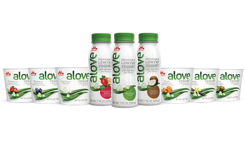 Alove yogurt is currently available in 6 oz cups in flavors including Strawberry, Blueberry, Peach, Vanilla, Kiwi, and Aloe Vera, and the company has a line of Drinkable Low Fat Yogurt in 7 oz bottles, slated to hit shelves next year