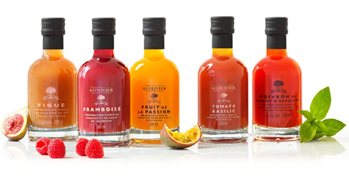 A L'Olivier Infused Vinegar Line includes flavors like fig, raspberry, passion fruit, tomato and basil, and bell and espelette