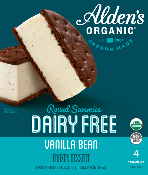 Alden's Organic's new Round Sammies line adds more differentiation, innovation, and uniqueness to the frozen dessert category
