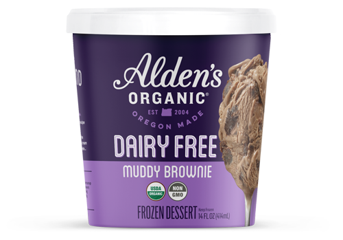 Alden's Organic's Dairy Free line includes flavors like Muddy Brownie, Vanilla Bean, Double Strawberry, Freckled Mint Chip, Peanut Butter Chip, Cookie Crumble, and Caramel Almond Crunch