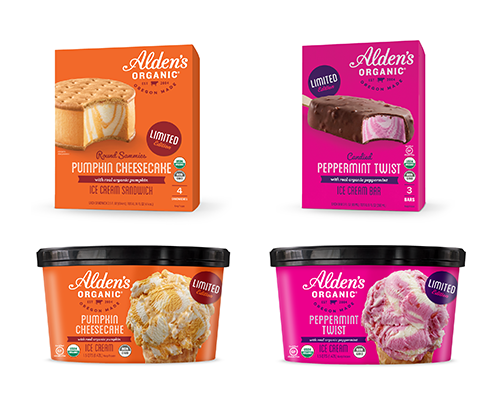 Launching two limited-edition ice cream varieties, Peppermint Twist and Pumpkin Cheesecake, the brand is pairing rich cheesecake ice cream with classic pumpkin and adding peppermint candy pieces to its organic peppermint bark ice cream