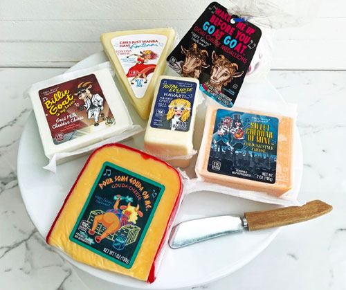 On February 6, Aldi launched a limited-edition, '80s-themed line of Happy Farms cheeses