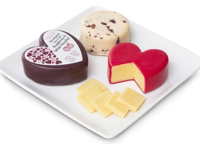 Each cheese weighs in at 5.29 oz, a perfect size to share the love this season, and is enrobed in red wax to hit the heart theme home