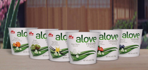 Alove yogurt is available in a wide array of popular flavors, including Strawberry, Blueberry, Peach, Vanilla, Kiwi, and Aloe Vera