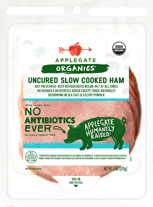 Applegate uncured slow cooked ham with new packaging