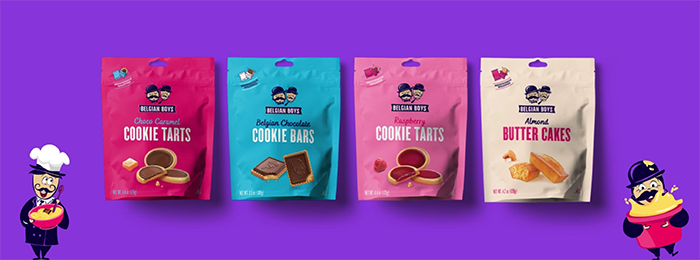 Belgian Boys' new line of cookies include Belgian Chocolate Bards, Almond Butters Cakes, Chocolate Caramel Cookie Tarts, and Raspberry Cookie Tarts