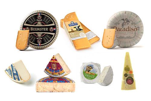 Awarded cheeses from left to right: Beemster Classic (Super Gold), Beemster XO (Bronze), Paradiso Reserve (Gold), Beemster Polder (Gold), Piave Vecchio Selezione Oro (Gold), Perenzin Bufala al Glera (Super Gold), Grana Padano Oro del Tempo (Silver)