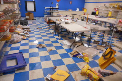 Inside the Oklahoma-based Flowers Baking Company/Sunbeam facility after being ransacked. (Photo Source: Fox 23 News)