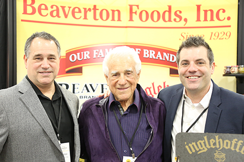 Gene Biggi, Specialty Foods Association Hall-of-Famer and Chairman of Beaverton Foods, is accredited for the unique and delicious flavors that Beaver Brands is known for (Pictured: Domonic Biggi, Gene Biggi, and 4th-generation Jeff Biggi, Executive Vice President)