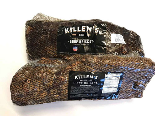 The cooked briskets are cut in half so that both the fatty and lean parts of the whole brisket are in one portion, and is then shrink wrapped and sold in the refrigerated meats section of the grocery store