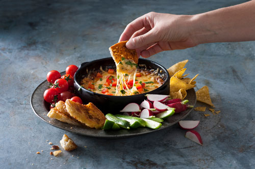 Cheesy Queso Fundido dip made from Beemster Cheese