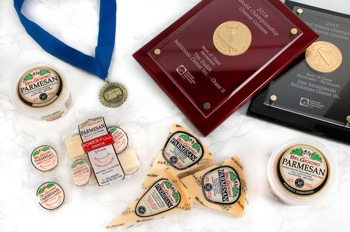 BelGioioso's Parmesan and American Grana cheeses were both judged in the same Italian Style Grating Types category