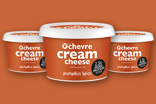 The Pumpkin Spice flavored cream cheese is the latest addition to Belle Chevre's cream cheeses