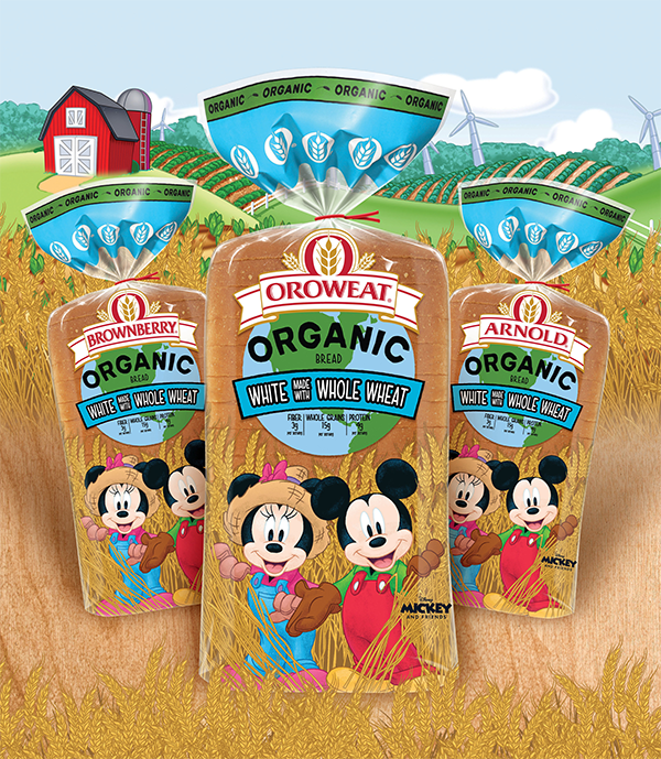 Bimbo Bakeries USA's brands Arnold®, Brownberry®, and Oroweat® Organic Breads recently launched new Kids Organic White made with Whole Wheat Bread featuring Disney's Mickey Mouse and Minnie Mouse