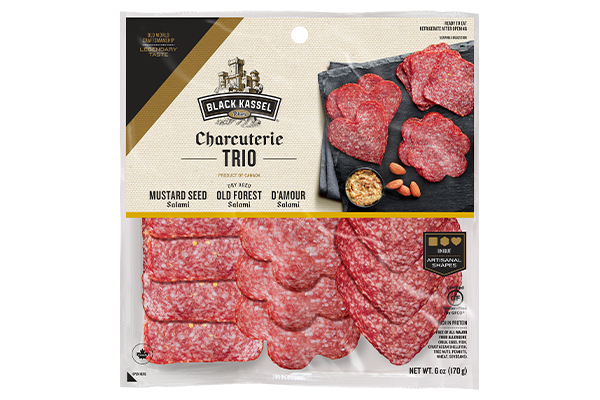 In addition to its Charcuterie Trio (pictured), Black Kassel is innovating its classic Salami Whip line with two special, limited-time flavors: a Honey Bourbon Salami Whip and a Hatch Chili Pepper Salami Whip