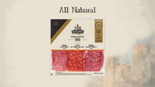 The All Natural 4 oz Charcuterie trio contains Double Smoked, Spicy Hungarian, and Black Peppercorn