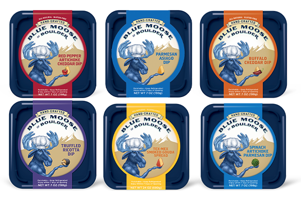 Blue Moose is offering flavors like Organic Red Pepper Asiago Dip, Organic Parmesan Peppercorn Ranch Dip, and Organic Onion Cheddar Dip