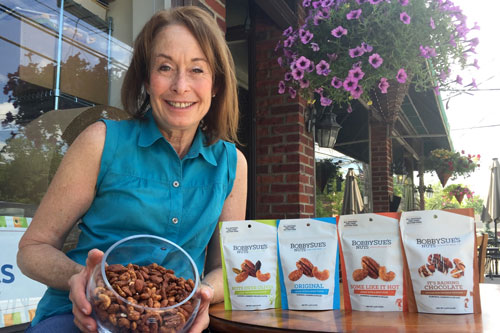 BobbySue's Nuts Owner Barbara Kobren with the award-winning mixes
