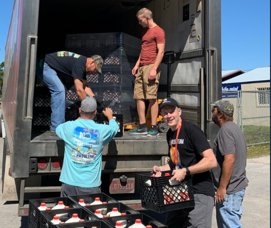 Borden Dairy teamed up with World Central Kitchen to distribute 177,260 individual servings of milk, orange juice, iced tea, and bottled water