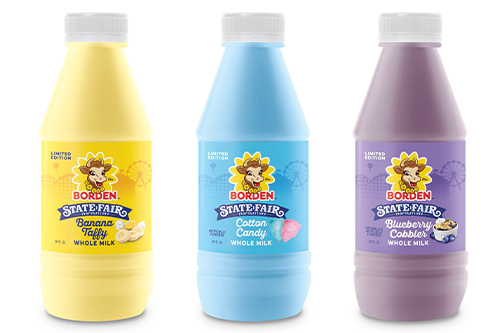 Borden Dairy's new limited-edition milk flavors include Banana Taffy, Blueberry Cobbler, and Cotton Candy