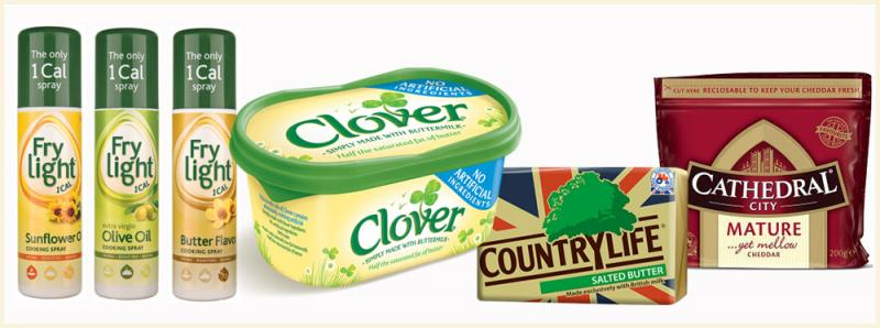 A selection of brands and products from Dairy Crest