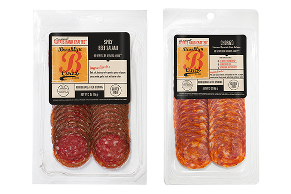 Brooklyn Cured's two new pre-sliced salami, Dry-Cured Chorizo and Spicy Beef Salami, will officially launch on July 1